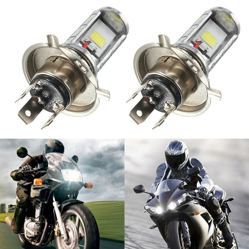 1PCS 12W H4 Motorcycle COB Bulb LED Light Lamp Hi/Lo Beam Headlights Headlamp Front Light Bulb
