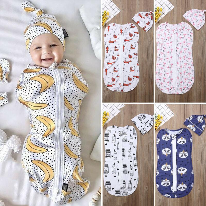 Newborn Baby Cotton Zipper Swaddle Blanket Sleeping Swaddle Muslin Wrap Hat Cute