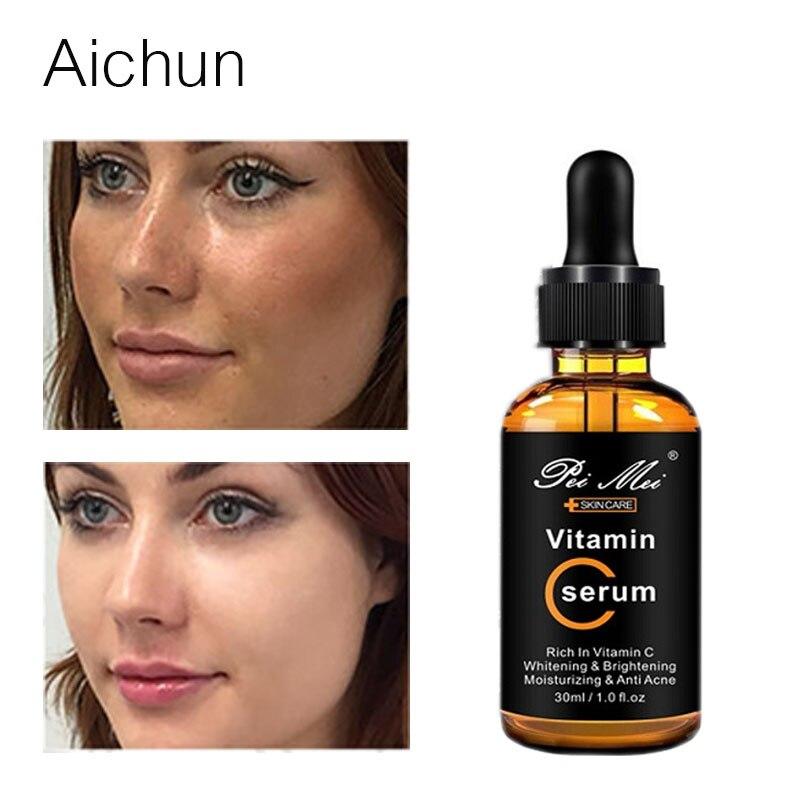 Aichun Vitamin C Serum Whitening Fade Spots Remove Freckle Brighten Liquid Moisturizer Firming Repairing Acne Anti-Aging Essence