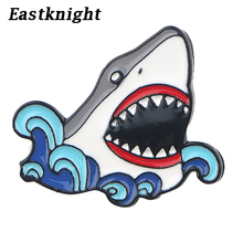 K910 2019 New Fashion Shark Cartoon Cool Pins Metal Enamel Pins and Brooches for Lapel Pin Backpack Bags Badge Collar Jewelry