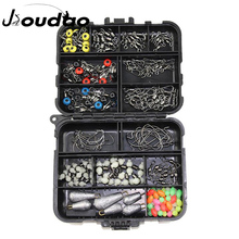 177pcs Fishing Accessories Kit Set with Fishing Tackle Box Including Fishing Sinker Weights Fishing Swivels Snaps Jig Hook Pesca