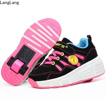 Kids Sneakers with Wheels Roller Skate Shoes 2018 New Kids Glowing Shoes for Boys Girls Tenis Infantil Heelys Pink new 2017 pink black children fashion girls boys led light roller skate shoes for kids shoes kids sneakers with wheels page 2