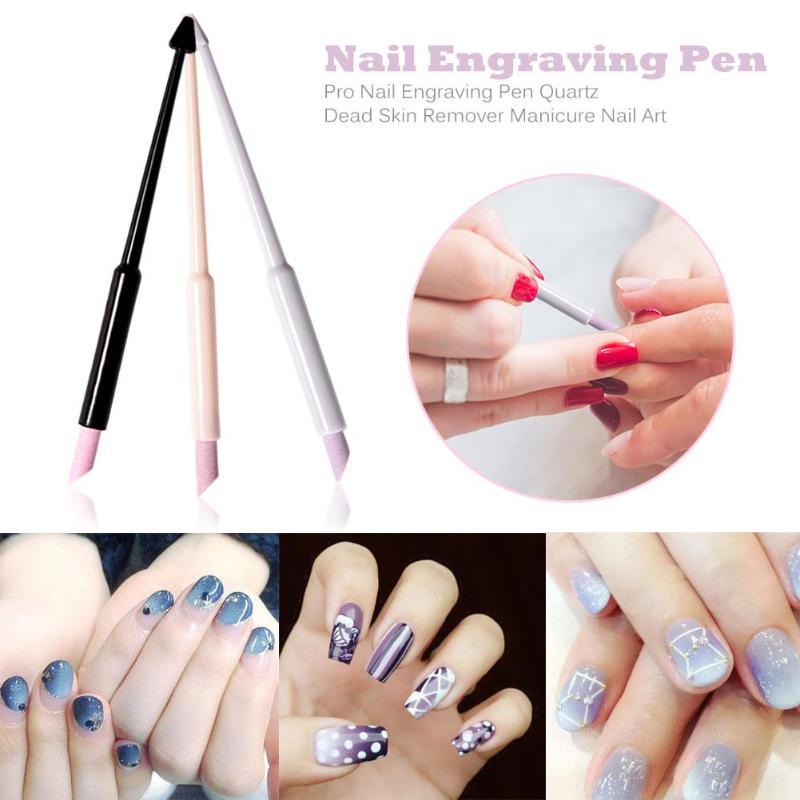 Pro Nail Engraving Pen Quartz Dead Skin Remover Manicure Nail Art Tools Quartz Cuticle Pushers Dead Skin Remover Manicure Tools