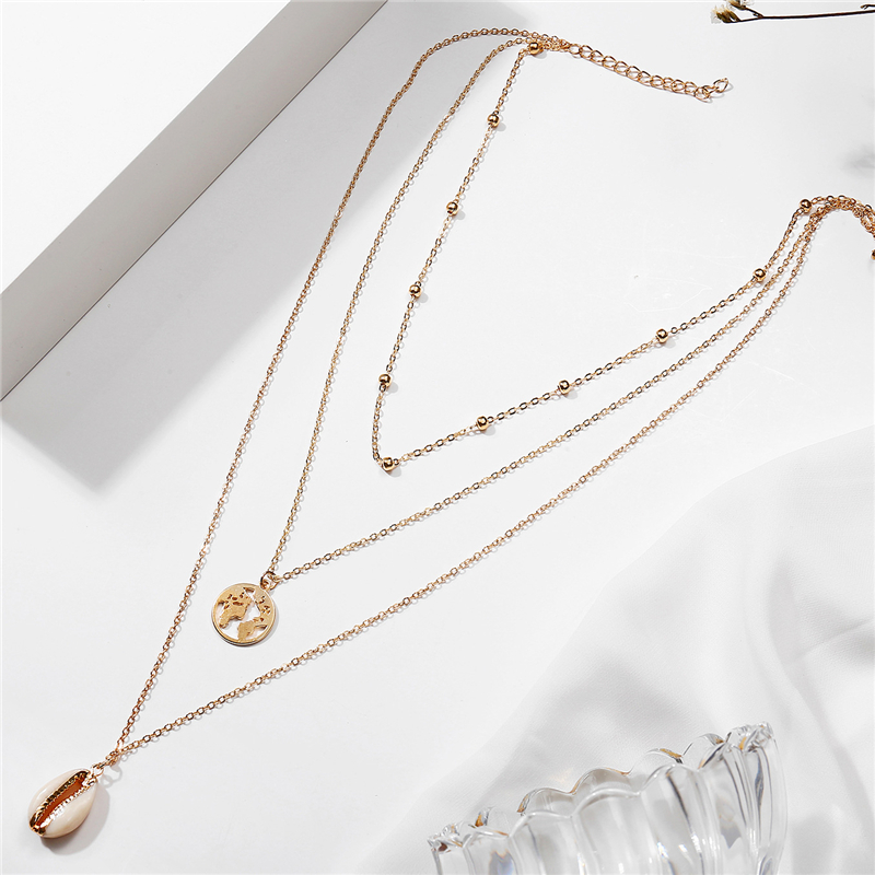 Ailodo Multi-Layers Shell Map Necklace Women Gold Color Summer Beach Layers Pendant Collar Fashion Jewelry Gift LD300