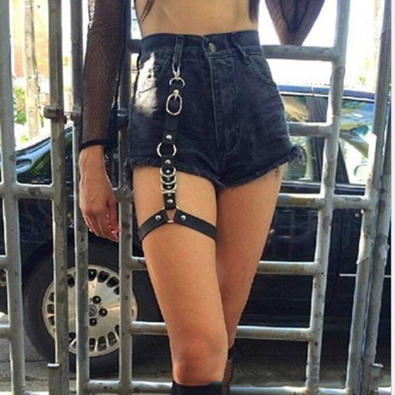 2020 New Street Punk Rock Handcrafted Leather Garters Belt Waist Chain Thigh High Suspenders Straps For Shorts Jean Body Jewelry