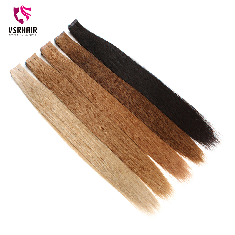 VSR Europe Hair Top Quality Imported Glue Tapes 100% Pure Remy Human Hair Extensions 10pcs/lot Skin Weft Tape Hair Extensions
