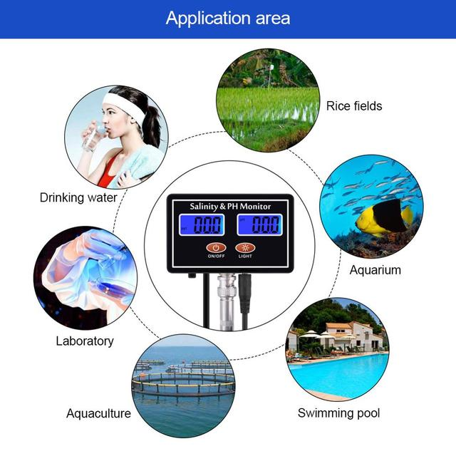 Yieryi online ph & salinity monitor 2 in 1 tester for aquarium pool spa seawater horticultural water quality