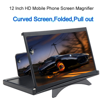 New 12 Inch Cell Phone Amplifier 3D High Definition Large Screen Magnifier With Desk Holder Magnifying Folding For Mobie Phone