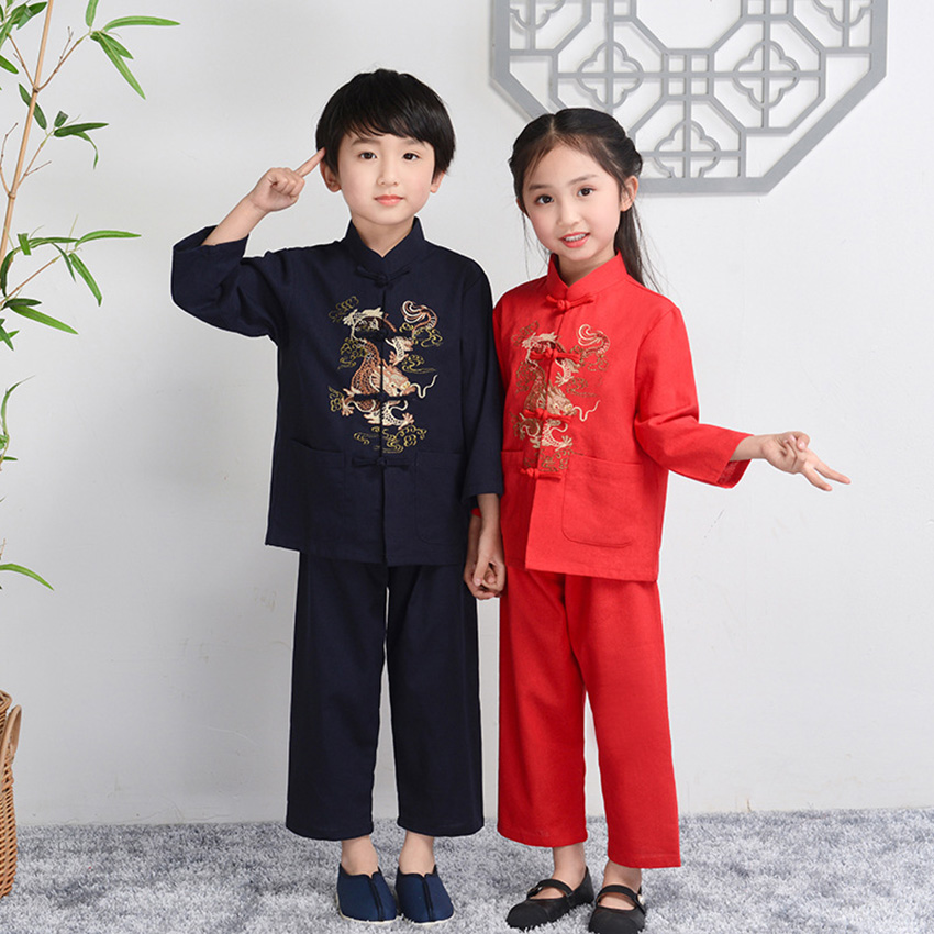 Children's Day Tangsuit Chinese Style Dragon Asian Clothes Baby Girl Boy Casual 2019 New Clothing Festival Outfist Kids Costume