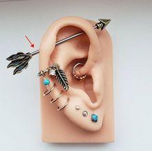 1 adet 14G cerrahi çelik ok endüstriyel halter Bar sarmal kulak Piercing küpe Piercing takı