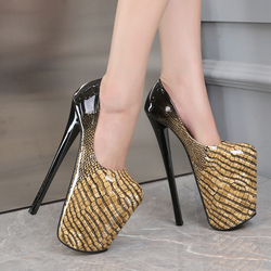 Zapatos de plataforma con estampado de serpiente para mujer, tacones finos de 22cm con punta redonda, charol, club nocturno, 2020