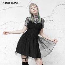 PUNK RAVE fille gothique quotidien mince ajusté noir sans cuir petite robe bustier tubulaire sangle robe femme Net fil Sexy robe fronde