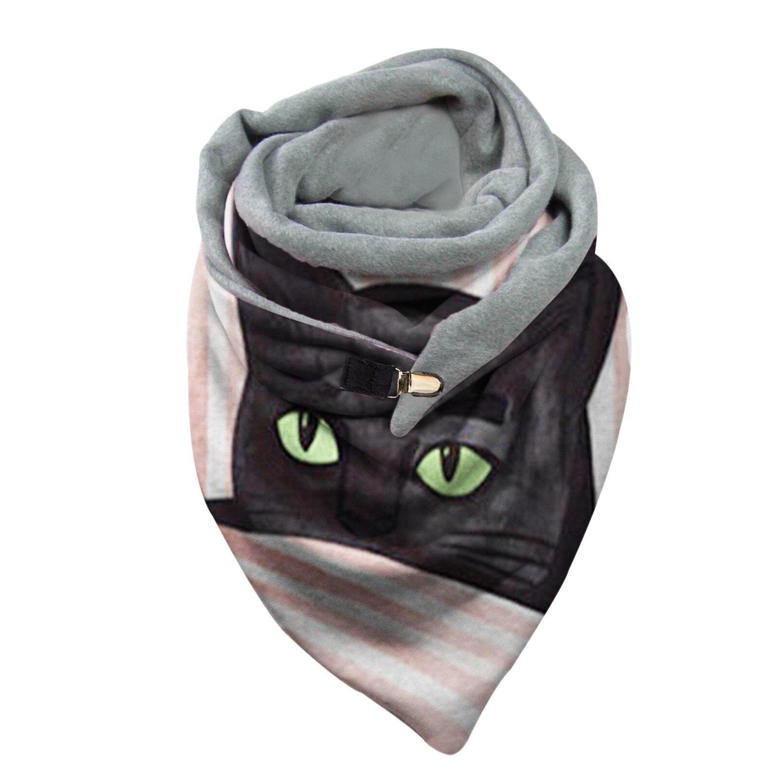 2020 Luxury Fashion Scarf Women 3Cat Printing Button Soft Wrap Casual Warm Scarves Shawls FoularFemme Шарф
