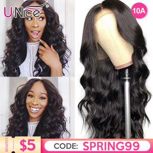 Unice Hair 13*4/6 Lace Front Human Hair Wig Pre Plucked With Baby Hair Brazilian Remy Body Wave Wig 360 lace Natural wig(China)