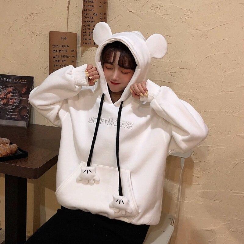 Hooded-Sweatshirt Hoodies Pullovers Long-Sleeve Sweet-Style Solid-Color Women's Loose