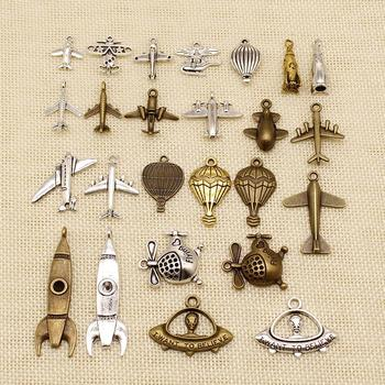 1 Piece Jewelry Making Supplies Airplane Rocket Helicopter Ufo Fighter Hot Air Balloon Charms HJ125 image