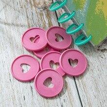100PCS Colorful Heart Binder Rings Mushroom Hole Loose Leaf Ring Round Binding Plastic Disc Buckle Hoop DIY Notebook