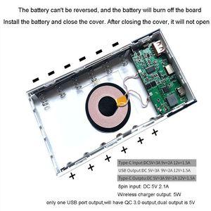 Image 4 - 6x18650 Batterie DIY Qi Drahtlose Ladegerät QC3.0 USB Typ C PD Power Bank Box Fall X6HA