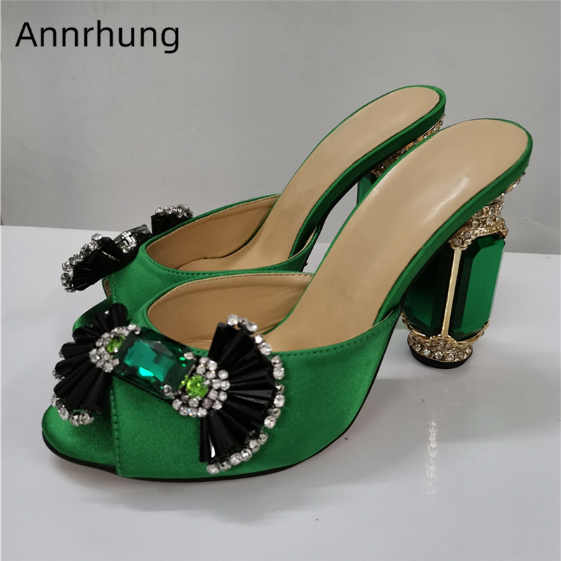 Jeweled Emerald High Heel Party Shoes Woman Sexy Open Toe Luxury Crystal Candy Butterfly-knot Decor Women Slippers