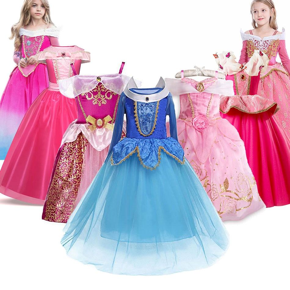 Платье принцессы для девочек платья для маленьких девочек возрастом «Спящая красавица» синего и розового цвета; Нарядный костюм для детей ...