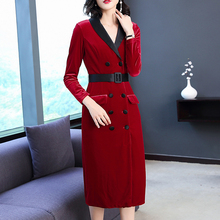 New 2019 Women Slim Gold Velvet Dress Fashion Female Long Temperament Bag Hip Autumn Winter Sleeve