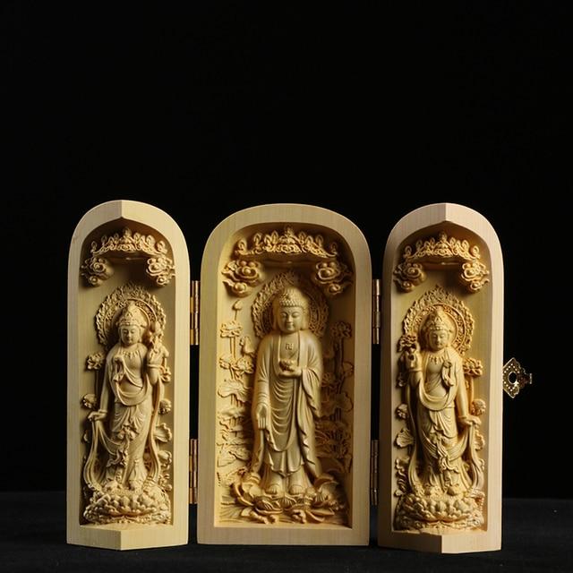 Boxwood Carving Buddha Statue Three Western Sages Guanyin Wood Buddha Shrine Fu Lu Shou Sculpture Three Open Box Home Decor 2