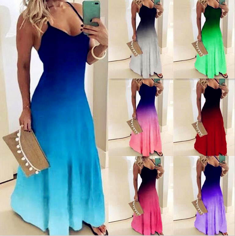 2020 Women Casual Loose Strap Dress Colors Summer Sexy Boho Bow Camis Befree Maxi Dress Plus Sizes Big Large Dresses Robe Femme