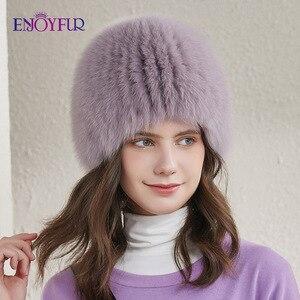 Image 4 - ENJOYFUR women winter fur hat genuine fox fur hats knitted silver fox fur caps female russian bomer caps