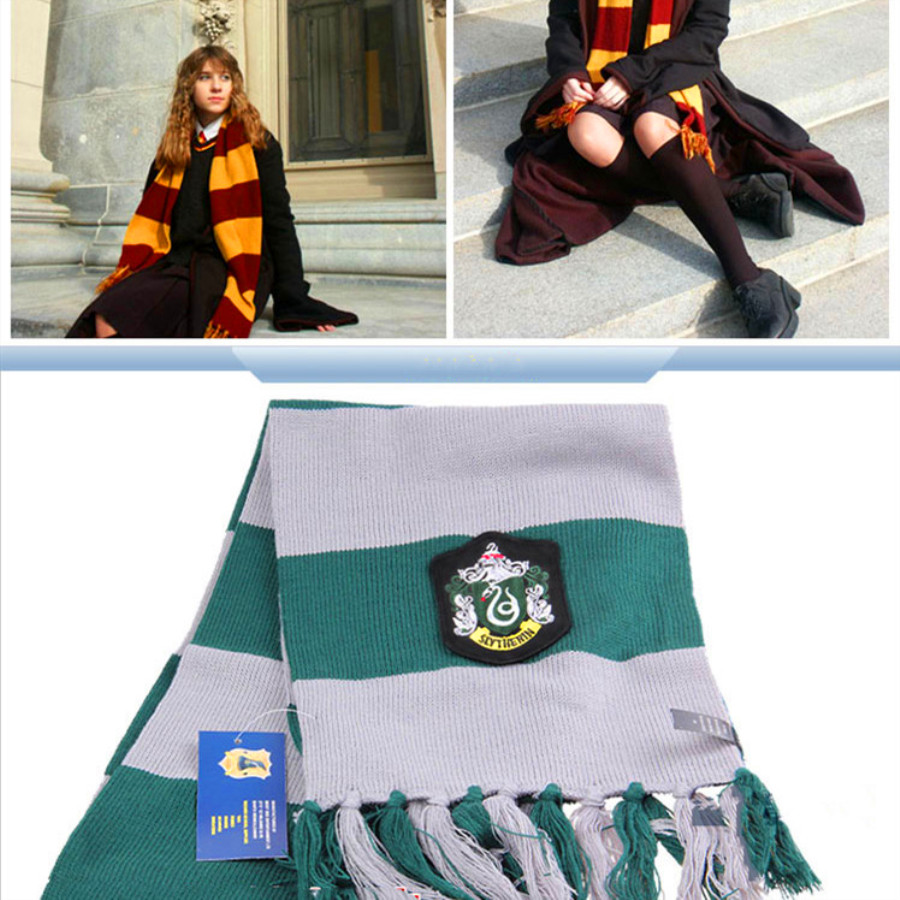 Cotton HP Potter Cosplay Soft Scarf HP Movie Scarves Cosplay Toys Cotton Embroidered Striped Personality Knit Scarves Gifts Toys
