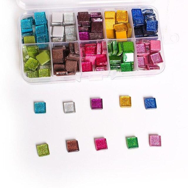 Bricolage en verre pierres mosaïque | Mélange de couleurs, paillettes, carreaux de mosaïque, galets de verre, Puzzle pour la fabrication de mosaïque, bricolage 100 pièces 1*1cm
