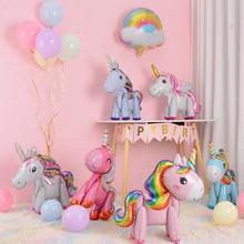 Unicorn Balloon Decoration Happy Birthday Party Supplies Foil Letter Balloon Globos Balony Banner Streamer Baby Shower Balloons