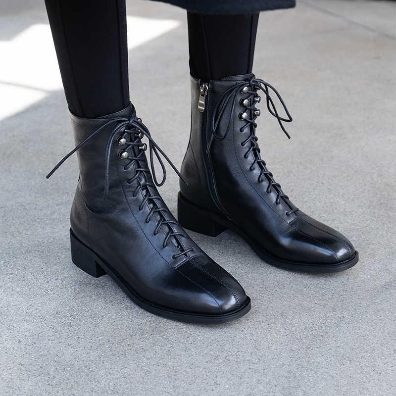 Kadın Kış Kar Botları Hakiki deri Ayak Bileği kısa topuk yuvarlak ayak dantel fermuar kadın retro su geçirmez kışlık botlar 2019 ayakkabı