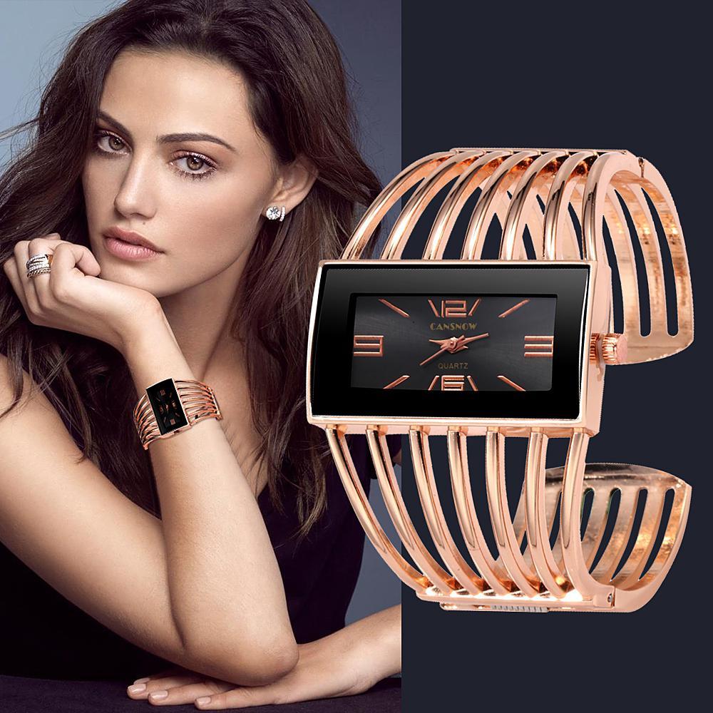 GloryStar Women Creative Waterproof Alloy Quartz Rectangular Dial Fashion Bracelet Watch Wristwatch