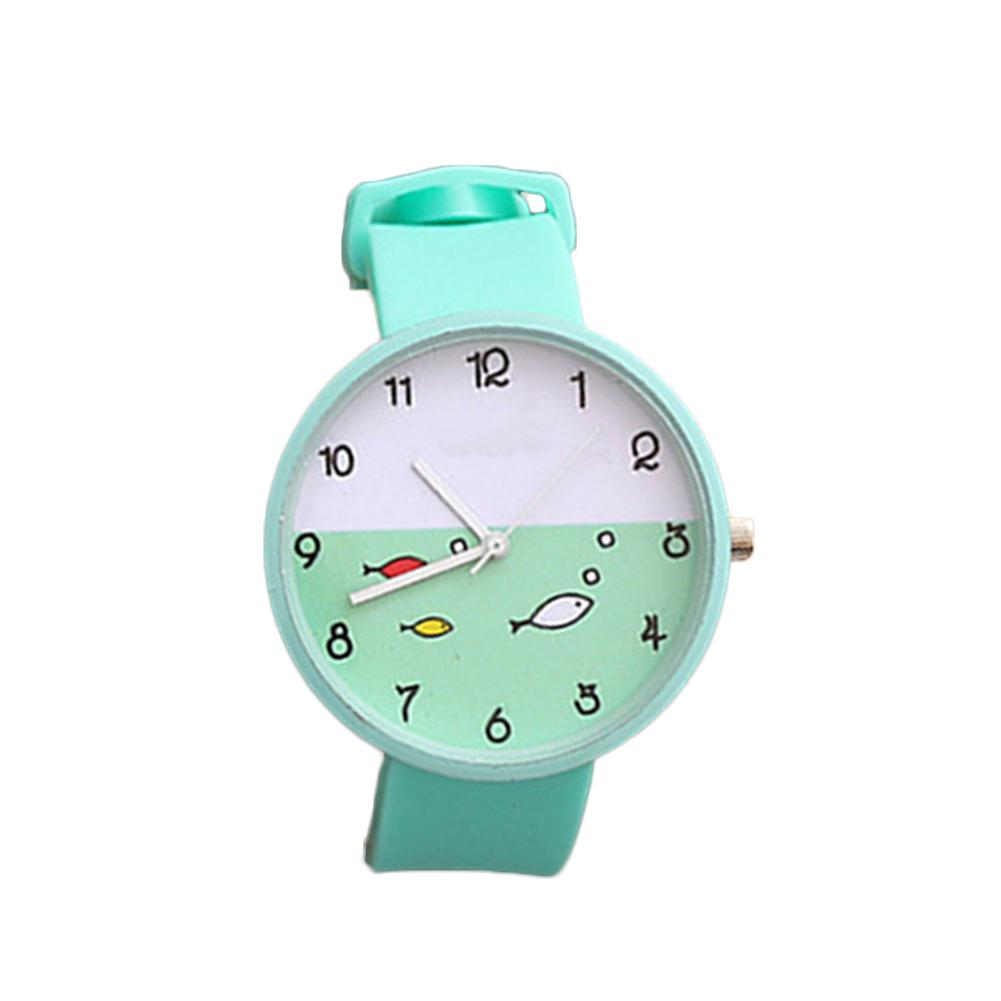 Cute Women Fish Pig Round Dial Silicone Band Arabic Numbers Analog Quartz Watch