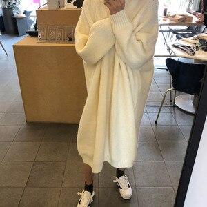Image 5 - CBAFU robe tricotée pour femmes, mi col roulé, robe pull à manches longues, pulls amples, grande taille, P529, automne hiver