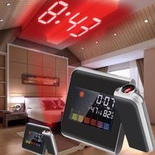 LCD Display Weather Forecast Projection Clock Snooze Alarm With Cable USB Clock Color Screen Clock X5Q0