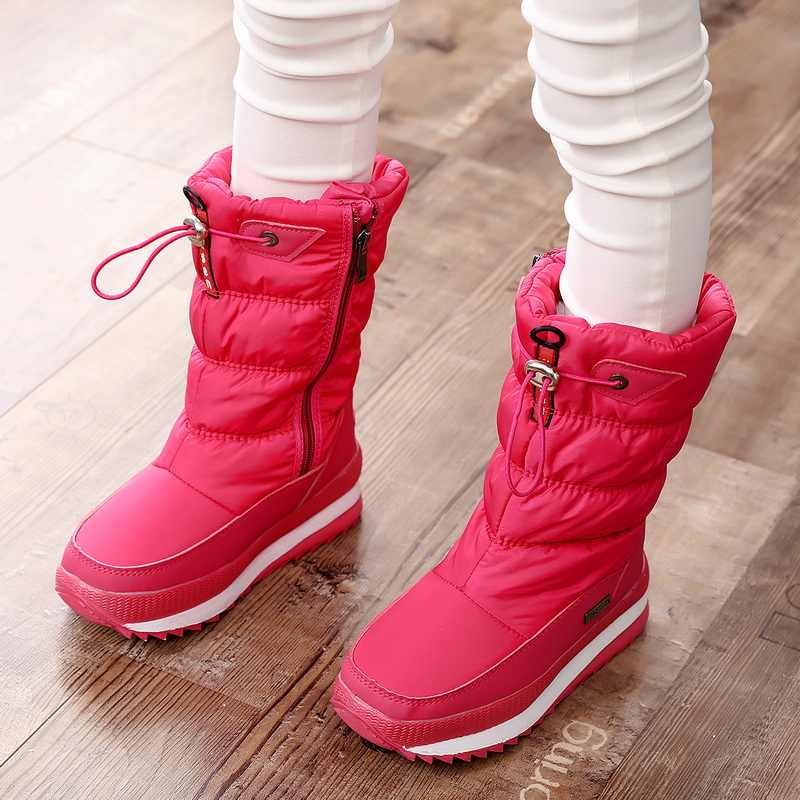 -30 degree 2019 winter girls winter boots Waterproof girl boots kids boots Snow Boots  warm Children shoes  kids wellies boys