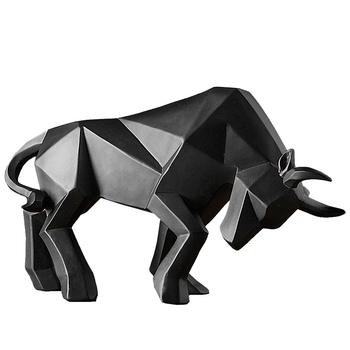 Bull Sculpture Abstract Geometric Bison Ox Resin Statue Office Decoration Home Art Animal Craft Ornament Accessories Kids Gift 1