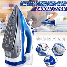 2400W Cordless Electric Steam Iron Portable Ironing Machine Garment Flatiron Non-stick Soleplate Multifunction Adjustable