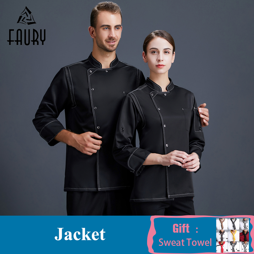 High Quality Chef Uniform Long Sleeves Kitchen Restaurant Uniform Head Chef Jacket Cafe Bakery Waiter Work Clothes Cook Wear
