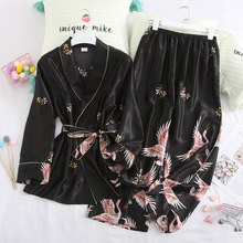 Spring Autumn Women Pajamas Sets with Pants Sexy Silk Ladies Satin Nightwear Robe Pijama Long Sleeve Sleepwear Pyjama Femme