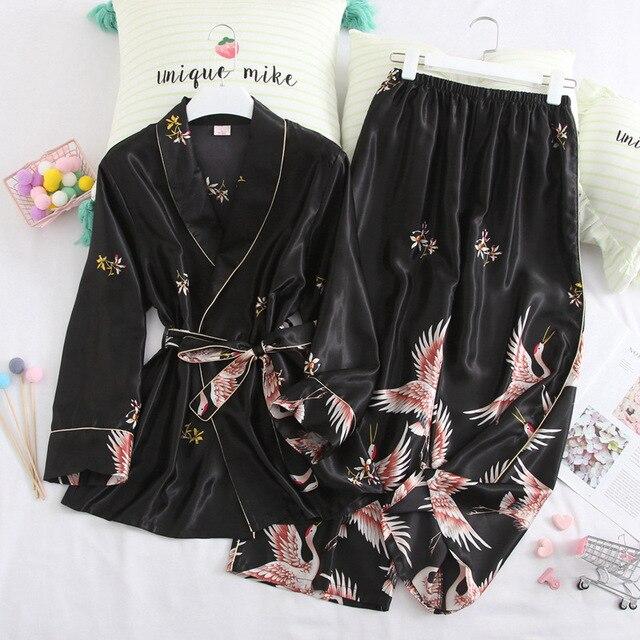봄 가을 여성 잠옷 바지와 함께 설정 섹시한 실크 숙녀 새틴 nightwear 가운 pijama 긴 소매 잠옷 파자마 femme