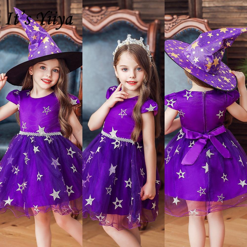 It's YiiYa Flower Girl Dress 2019 Elegant O-neck Stars Print Christmas Dresses Sleeveless First Communion Dresses For Girls