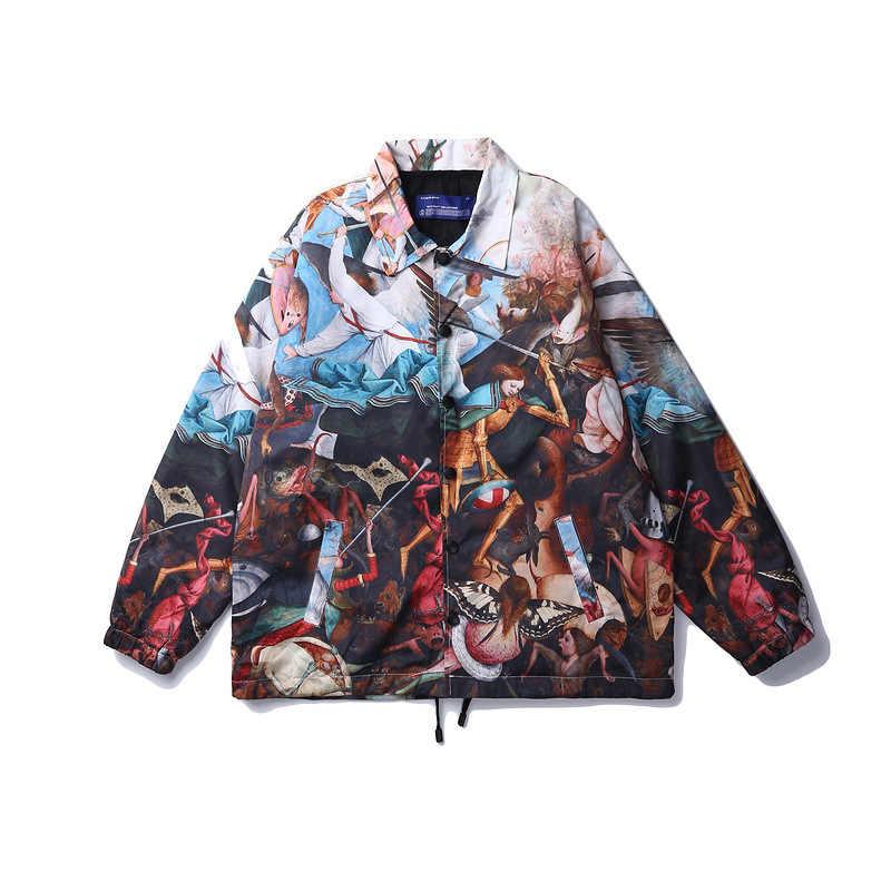 רטרו מעיל גברים צבעוני מודפס Harajuku להנמיך צווארון מעיל מעיל מעיל מזדמן באביב זכר R2088
