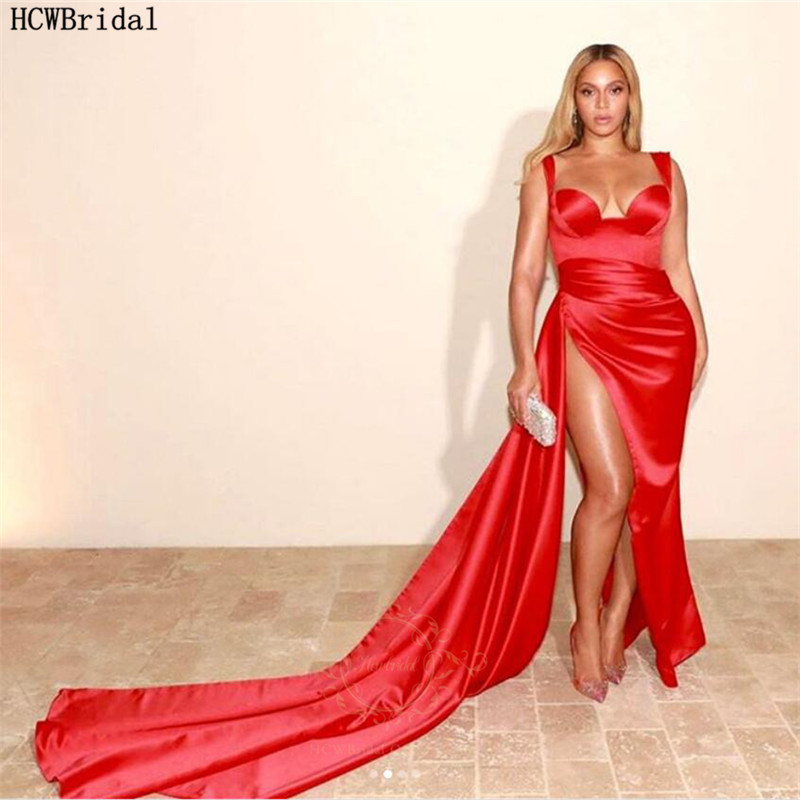 Sexy Red Long Black Girls Evening Dress High Slit Sweetheart Shiny Satin Prom Gowns Robe De Soiree Plus Size Formal Dresses