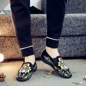 Image 4 - Veowalk miękkie dna mężczyźni bawełniana haftowana mokasyny komfort płaskie buty wsuwane na co dzień Walking trampki do jazdy samochodem buty Retro