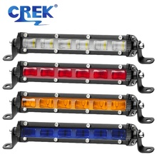 CREK 7 Red Amber Blue 30W LED Work Light Bar Motorcycle Head Offroad Fog For Jeep 4X4 4WD Truck ATV SUV Car