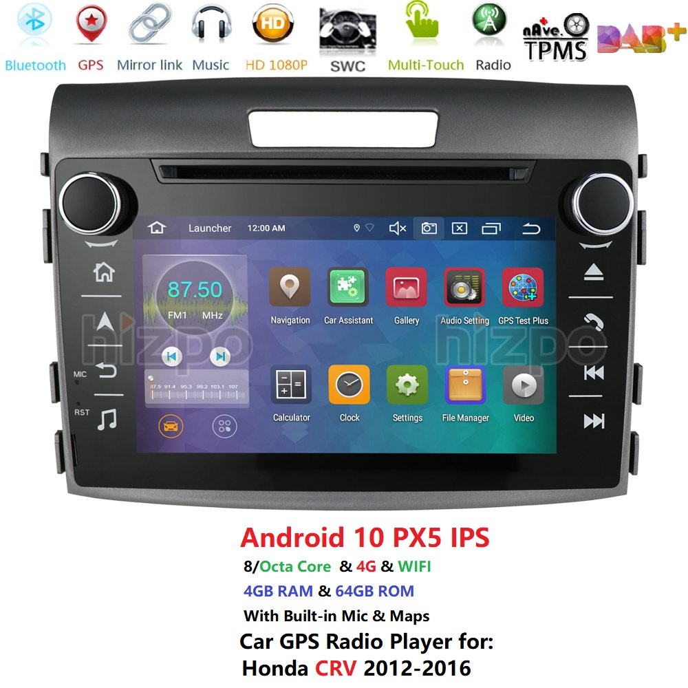 Android 10 Car DVD Player for <font><b>Honda</b></font> <font><b>CRV</b></font> 2012-2016 <font><b>GPS</b></font> navigation stereo headUnit 2 DIN Radio tape recorder multimedia player IPS image