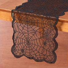 183x33cm Halloween Party Decoration Lace Spider Web Table Runner Cloth Cover spooky atmosphere ourwarm 1pc halloween table cloth party table decoration spider web lace design rectangle tablecloth with ghost party decoration
