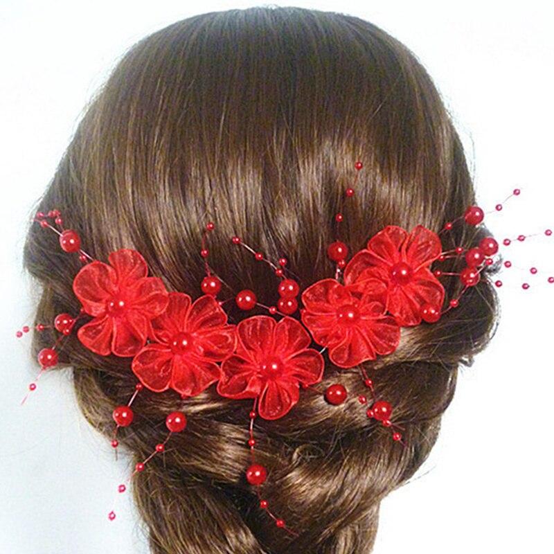 Handknitted Pearl Tassel Lace Flower Headband Red White Wedding Tiara Hair Accessories Bridal Headdress